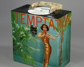 """Vinyl Record Case 7-inch 45's - """"Temptation"""" - Handmade from Recycled Records"""