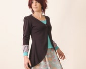 Long eggplant cardigan - Eggplant jersey - Pleated swallowtail jacket - Office fashion
