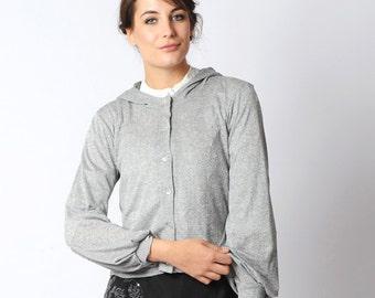 Short silver cardigan, glitter grey hooded sweater, silvery buttoned cardigan, glittery grey knit hoodie