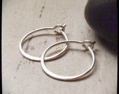 Sterling Silver Hoop Earrings - Teenie Weenie - RUSTIC HOOPS