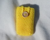Travel tissue cozy- yellow top opening, tissue holder, kleenex carrier, cell phone holder