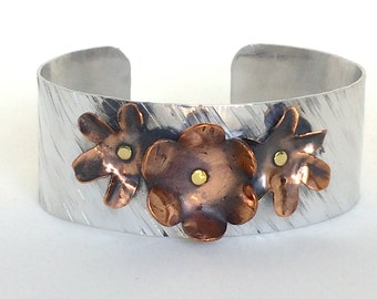 Handmade Etched Wide Cuff with Copper Flowers.