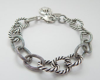 Fancy Chain  Bracelet in Antique Silver, Chunky Chain, Large Links, Casual, Oxidized Silver, Fashion Chain, Restless Heart Designs