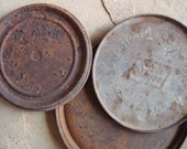 Rusty Metal Flat Lids Can Tin Large Round Found Objects  -- Primitive Assemblage or Altered Art