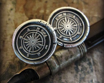 Compass Wax Seal Cuff Links - Silver Compass Cuff Links - CL700