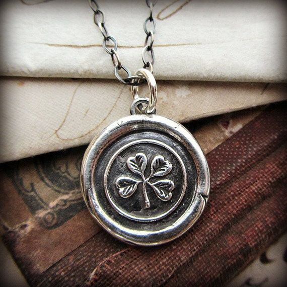 Four Leaf Clover Wax Seal Necklace - Shamrock Necklace - E2125