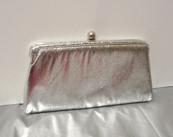 Metallic Silver Clutch - Vintage 1960's Handbag - Shiny Foil Clasp Top with Optional Chain Handle