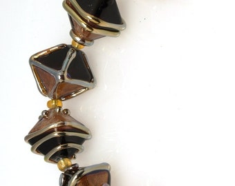 Gold and black crystal, lampwork beads sra, set of 6, Lampwork Glass Beads, jewelry supplies, artisan beads