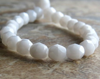 Opaque White Czech Glass Bead 6mm Firepolish  Round : 25 pc White Bead