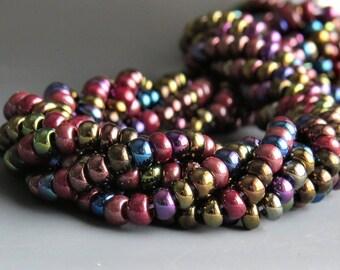 Czech Glass 6/0 Metallic Iris Seed Bead Mix : 35 grams 3 full 20 inch strands