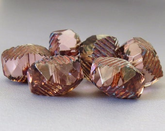 Peach Picasso Czech Glass Bead 14x10mm Curvy Rondell : 6 pc Peach Rondelle
