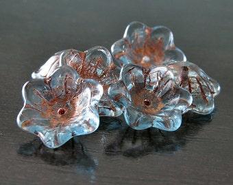 Aqua Copper Czech Glass Bead 12mm Cup Flower :  6 pc Transparent Aqua Bellflower
