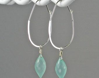 Peru Chalcedony Dew Drop Sterling Silver Hoop Earrings Light Aqua