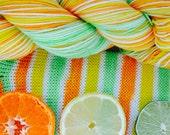 Citrus stripe self striping sock yarn