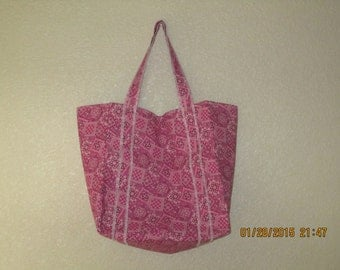 "Double Extra Large Durable 15.5"" Grocery Shopper Reversible Market Tote Bag MEDIUM PINK Bandana  CLEARANCE 20% Off Was 19.50*"