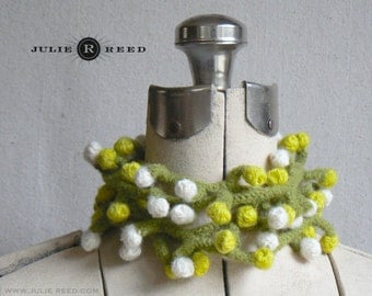 Greens & Cream Crocheted and Felted Wool Bobble Scarf Fiber Necklace Accessory