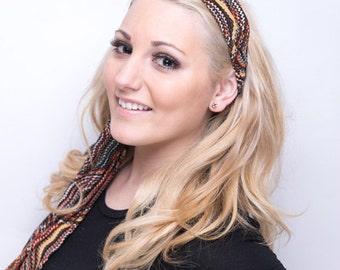 Women's Orange & Brown Retro Headband Scarf