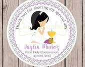 Girls First Holy Communion Favor Tags or Stickers in Gray and Lavender / Choose Your Hair Color / Set of 12