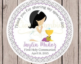 PRINTABLE Girls First Holy Communion Favor Tags / Print Your Own Communion Stickers / Gray and Lavender / Choose Hair & Skin Color - HC03