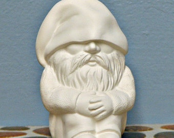 Ceramic Bisque Gnome Woodland Sitting Garden Figurine You Paint - Made to Order