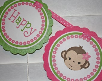 MONKEY GIRL Birthday Banner / Monkey Banner / Monkey Birthday Banner / Monkey Shower Banner / Monkey Birthday Party / Girl Monkey Banner