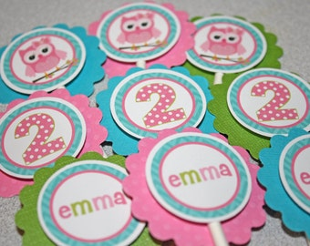 OWL Cupcake Toppers / Owl Chevron Toppers / Owl Cupcake Toppers / Owl Birthday Party / Owl Baby Shower / Owl Cupcake Picks