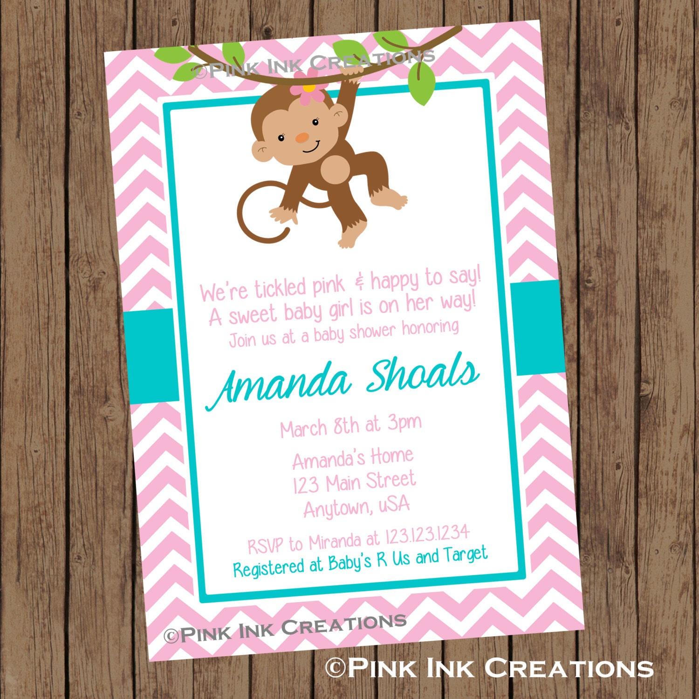 MONKEY GIRL Baby Shower Invitation / Monkey Baby Shower