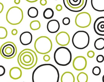 BUBBLE FABRIC PREMIER  Yardage Fabric by the yard  black and chartreuse bubbles on white print cotton