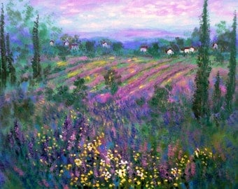 Large Giclee Canvas  print 40 x 30 x 3/4  Provence Lavender Fields and white houses  by  Vadal