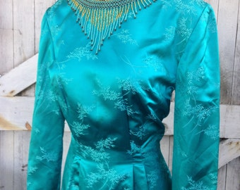 1960s dress teal gown evening gown 60s gown silk dress Asian dress size medium Vintage dress long sleeve gown