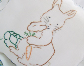 Bunny in the Lettuce Patch - Hand Embroidered Nursery Pillow