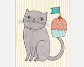 Cupcake Cat - Greeting Card
