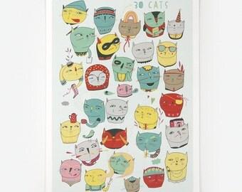 30 Cats - Giclee Print