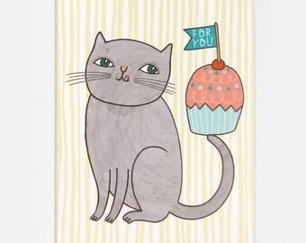 Cupcake Cat - Greeting Card