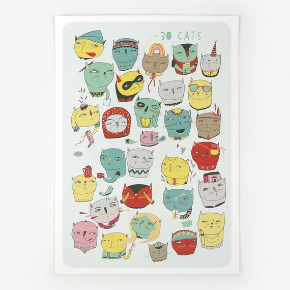 30 Cats - Giclee Print