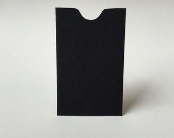 25 Black Mini Envelopes, Business Card Holder, Gift Certificate Holder, Black Escort Card Envelope, Notched Edge Card Sleeve,  e25
