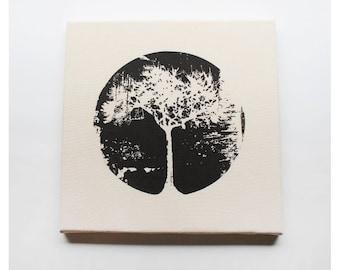 Tree Canvas Print 12 x 12 Inch Tree Circle Screenprint Wall Art
