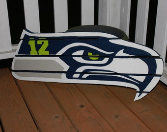Seattle Seahawks - 12th man sign made from reclaimed lumber, hand painted