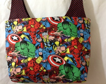 Large Reversible Grocery Bag Tote Purse Made From Avengers Fabric - Thor Captain America Spiderman Wolverine Ironman Hulk