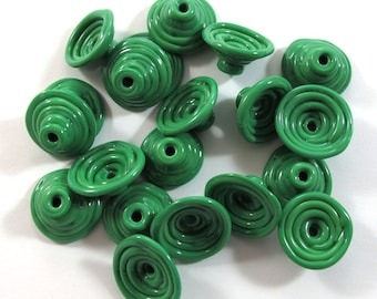 Handmade Lampwork Beads Glass, Lampwork beads set, Cone Shape Bead Caps, green (20) SRA