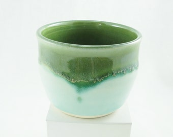 Green layered glaze pottery cup for tea, wine