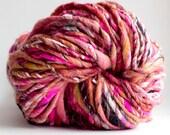 Handspun Yarn thick and thin Melon Smoothie 112 yards hand dyed merino wool pink art yarn waldorf doll hair knitting crochet supplies