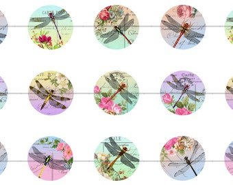 """1"""" Inch Flowers and Dragonflies Flatbacks, Pins or Magnets 12 Ct."""
