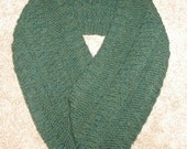 """New Handmade Forest Green Heather Wool Ease Knit Infinity Scarf - 7"""" x 44"""""""