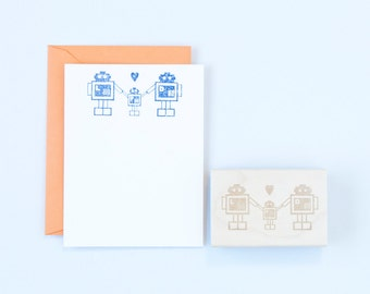 Robot Family Rubber Stamp