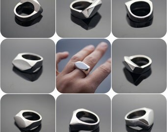 The Rock Ring - Geometric Sterling Silver Unisex Ring