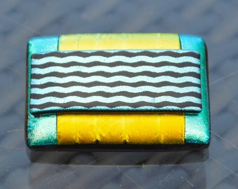 Large Dichroic Glass Brooch with a Sterling Silver Fitting -  Bright Metallic Colours - Golden Yellow Green Waves - Gift Boxed