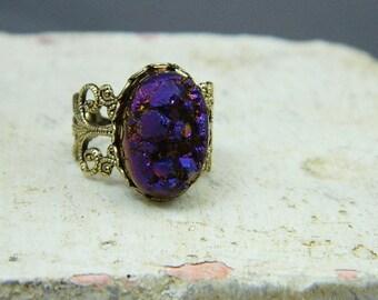 Druzy Quartz Ring--Purple  Druzy