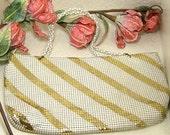Vintage Whiting Davis White Gold Striped Metal Mesh Purse Hand Bag