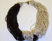 Vintage Signed Miriam Haskell Torsade Multi Strand Silver Black Beaded Necklace w/ Silver Tone Filigree Connectors